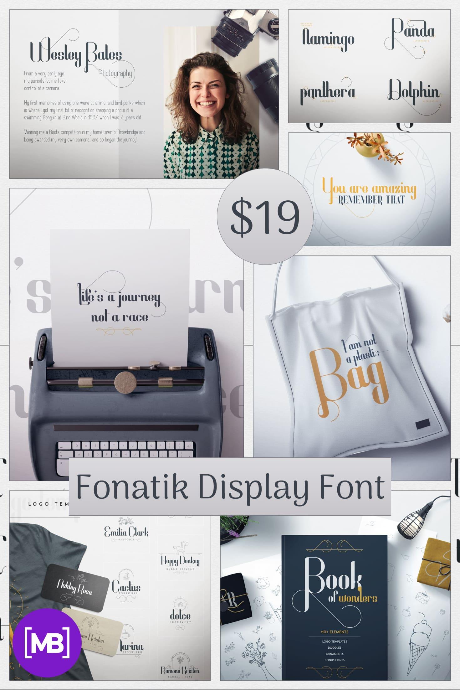 Fonatik Display Font + Book of Wonders - just $19. Collage Image.