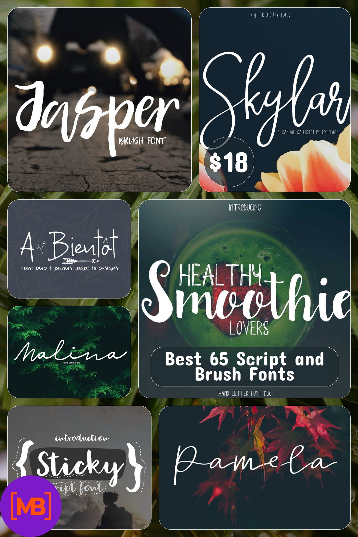 Girly Fonts - Best 65 Script and Brush Fonts. Collage Image.