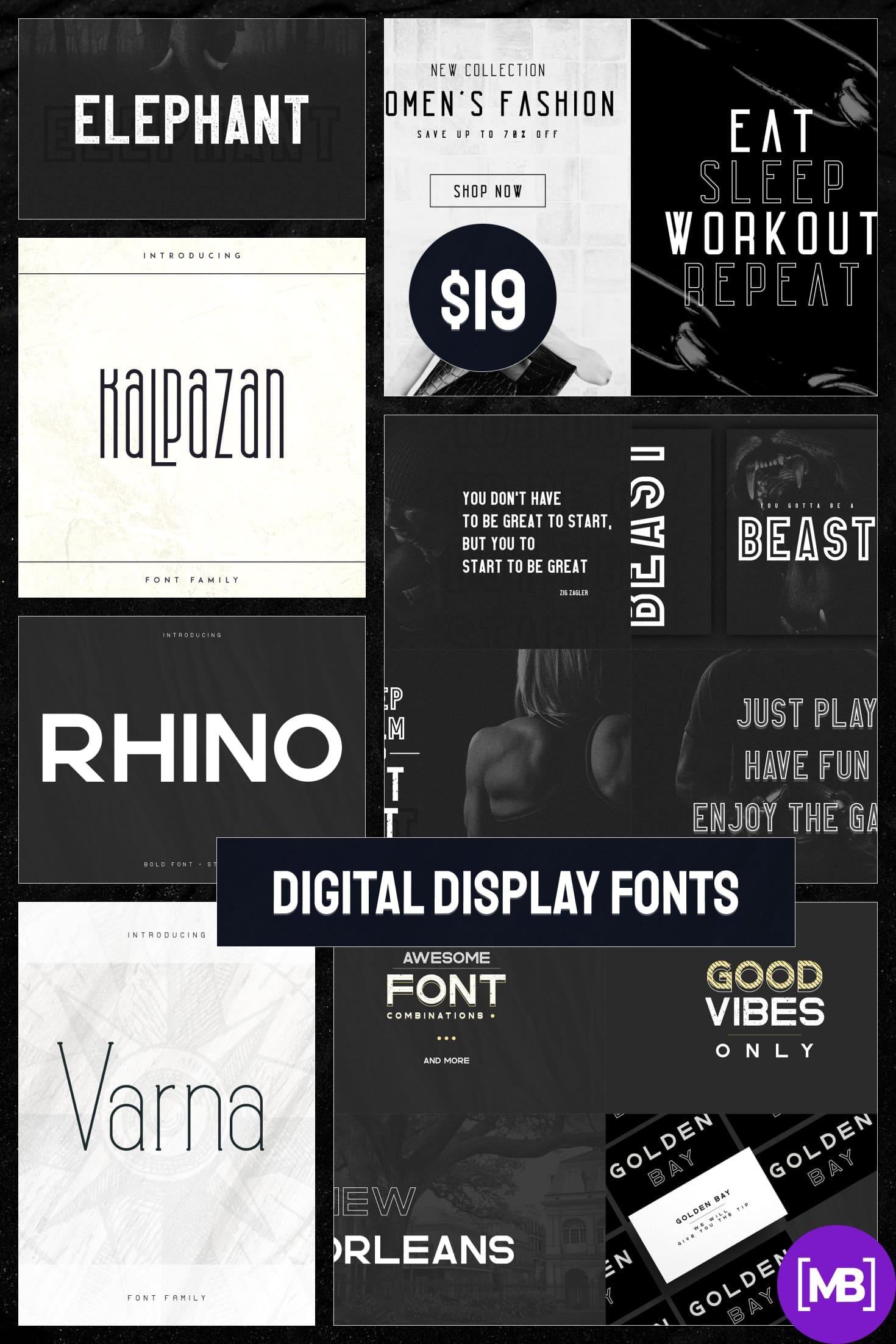 Digital Display Fonts - 85 Sans & Display Fonts Bundle. Collage Image.