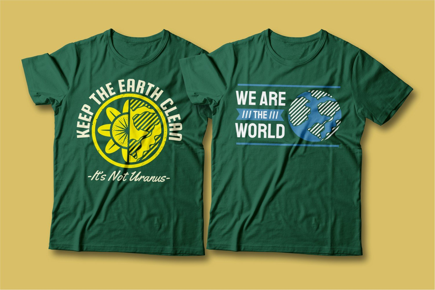 Green T-shirts with the image of the green planet.