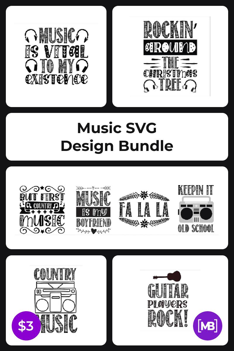 Music SVG Design Bundle. Collage Image.