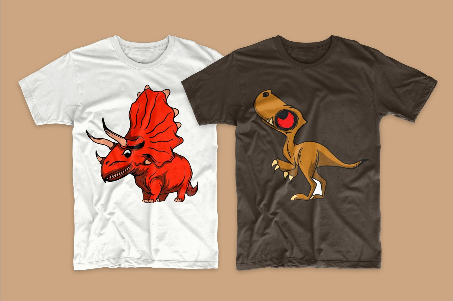 White T-shirt with a red dragon and brown with a small brown dragon.