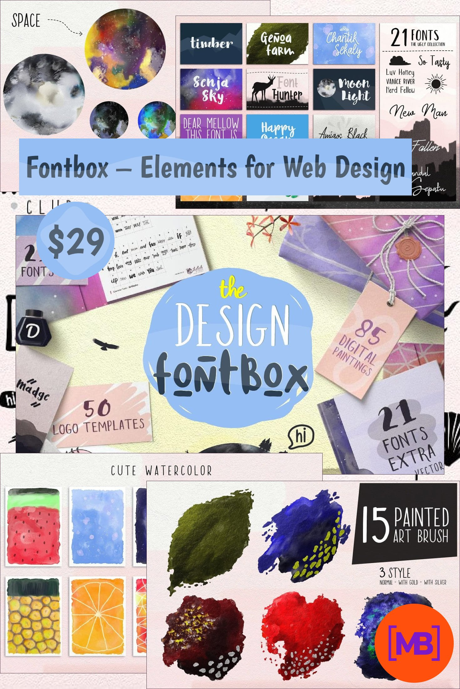 Fontbox - Elements for Web Design - Fonts, Logos, Watercolors. Collage Image.