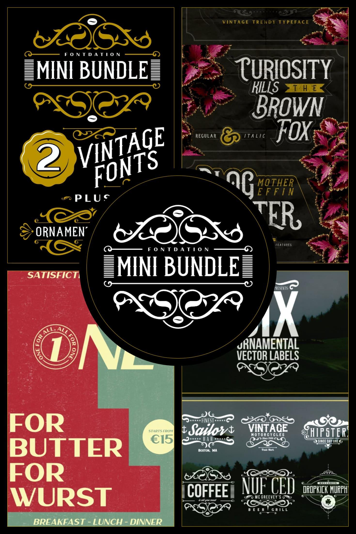 Fontdation Mini Bundle - $12 ONLY. Collage Image.
