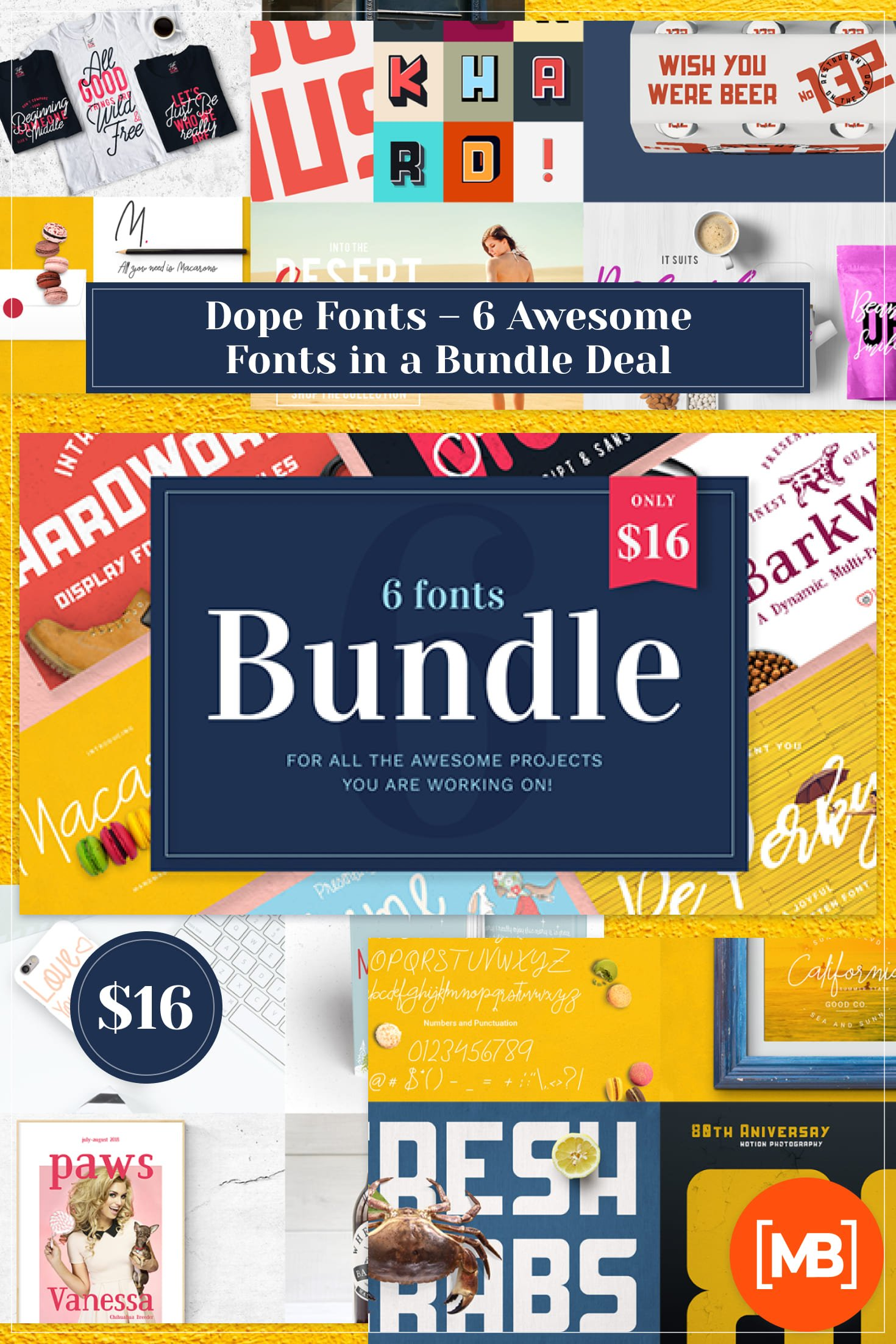 Dope Fonts - 6 Awesome Fonts in a Bundle Deal. Collage Image.