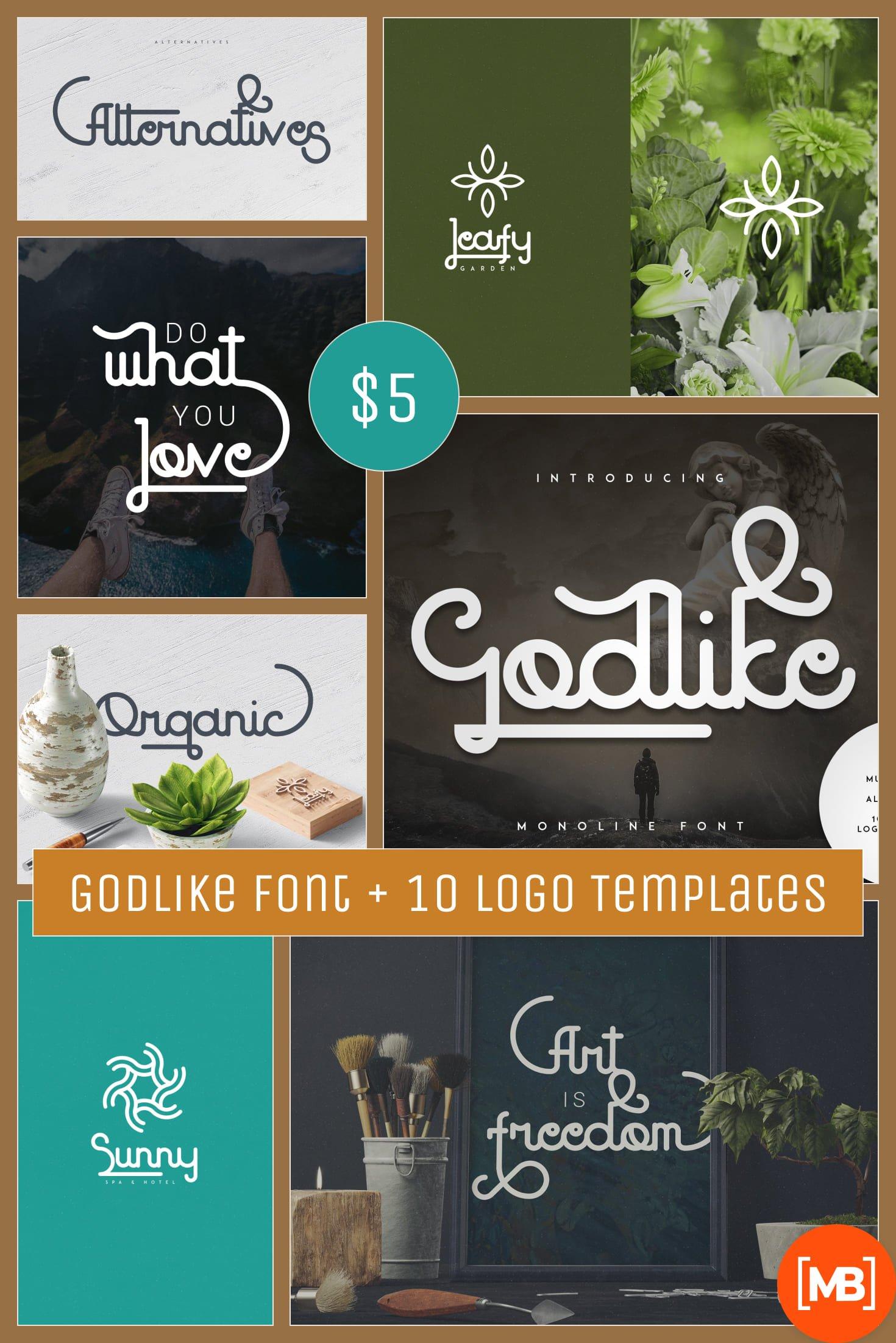 Godlike font + 10 Logo Templates. Collage Image.