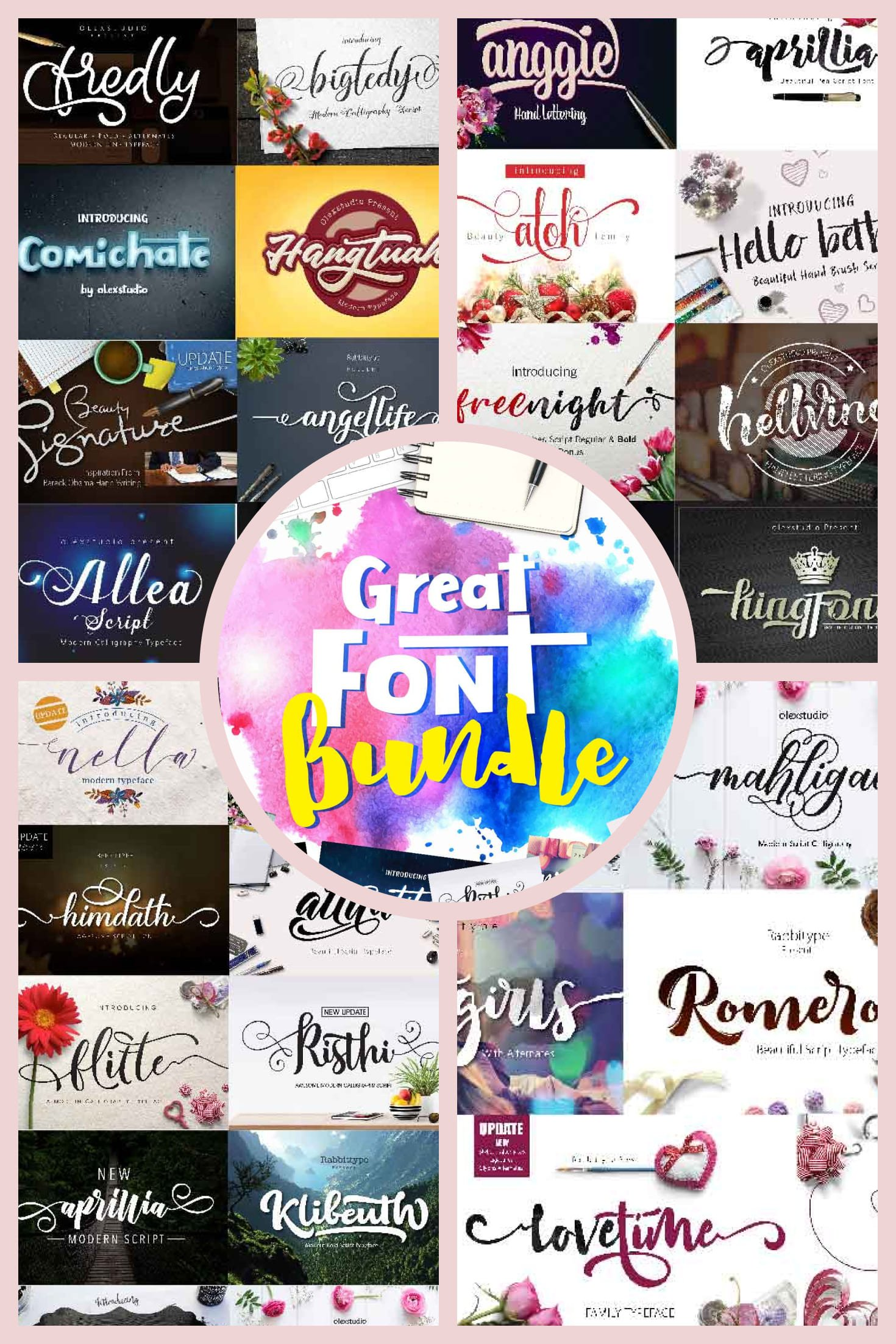 Curly Fonts - Unique Script Fonts + 2 Display Fonts - Only $29!. Collage Image.