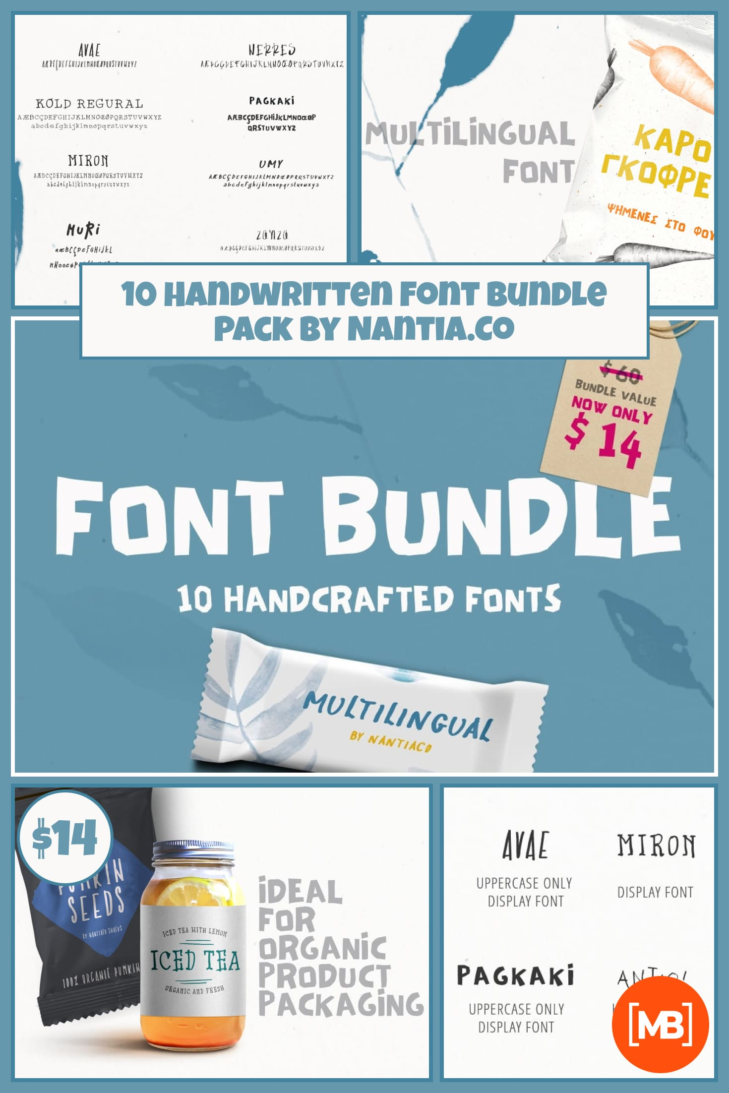 10 Handwritten Font Bundle Pack by Nantia.Co. Collage Image.