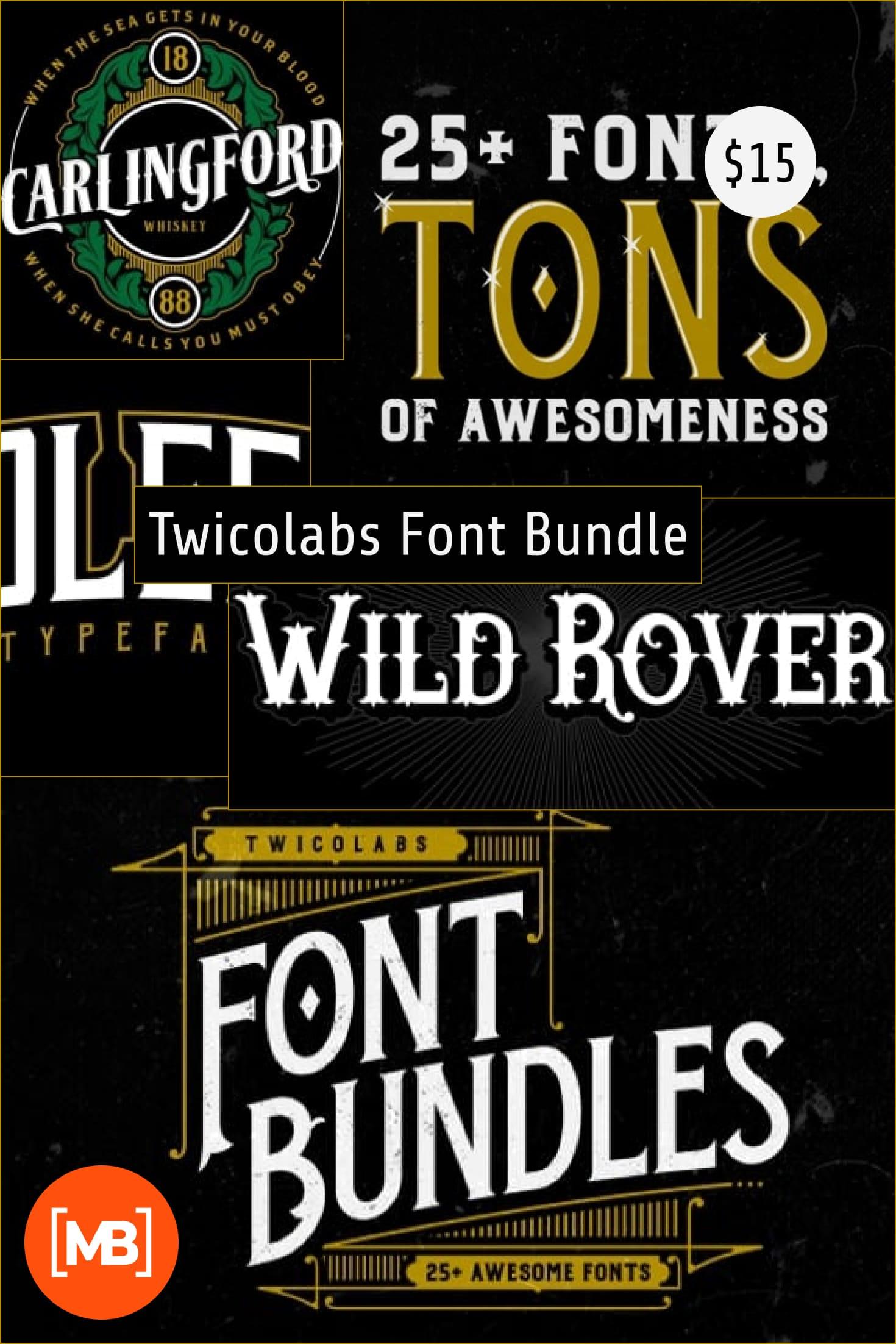 Twicolabs Font Bundle. Collage Image.