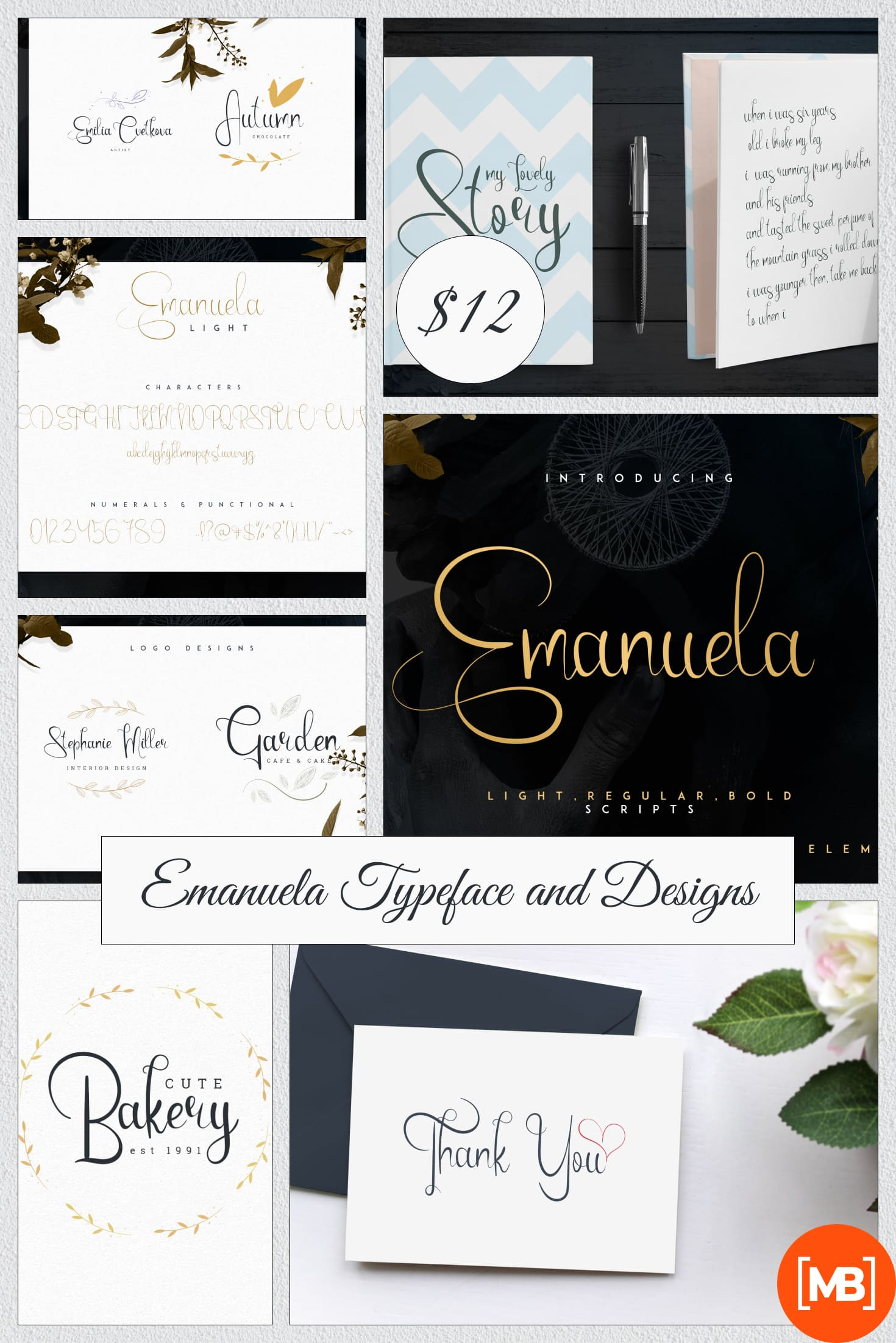 Emanuela Typeface and Designs. Collage Image.