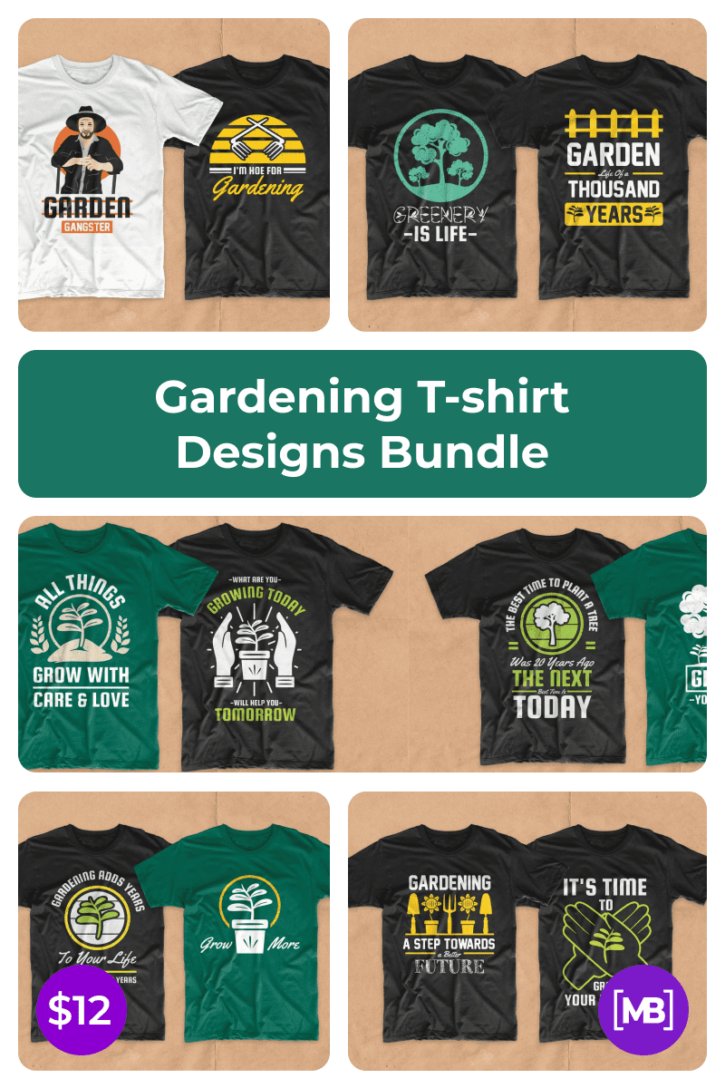 Gardening T-shirt Designs Bundle. Collage Image for Pinterest.