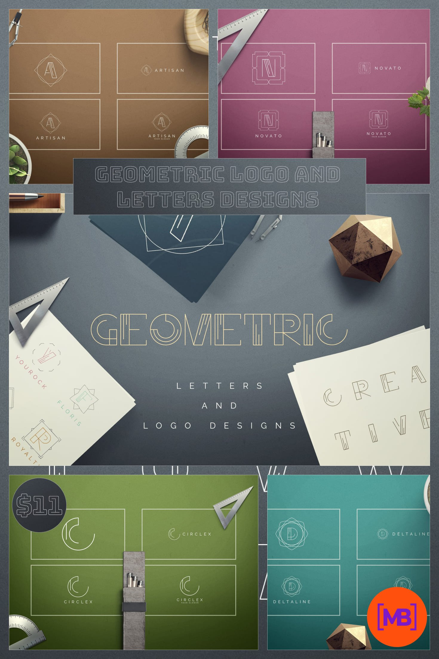 Geometric Logo and Letters Designs - just $5. Collage Image.