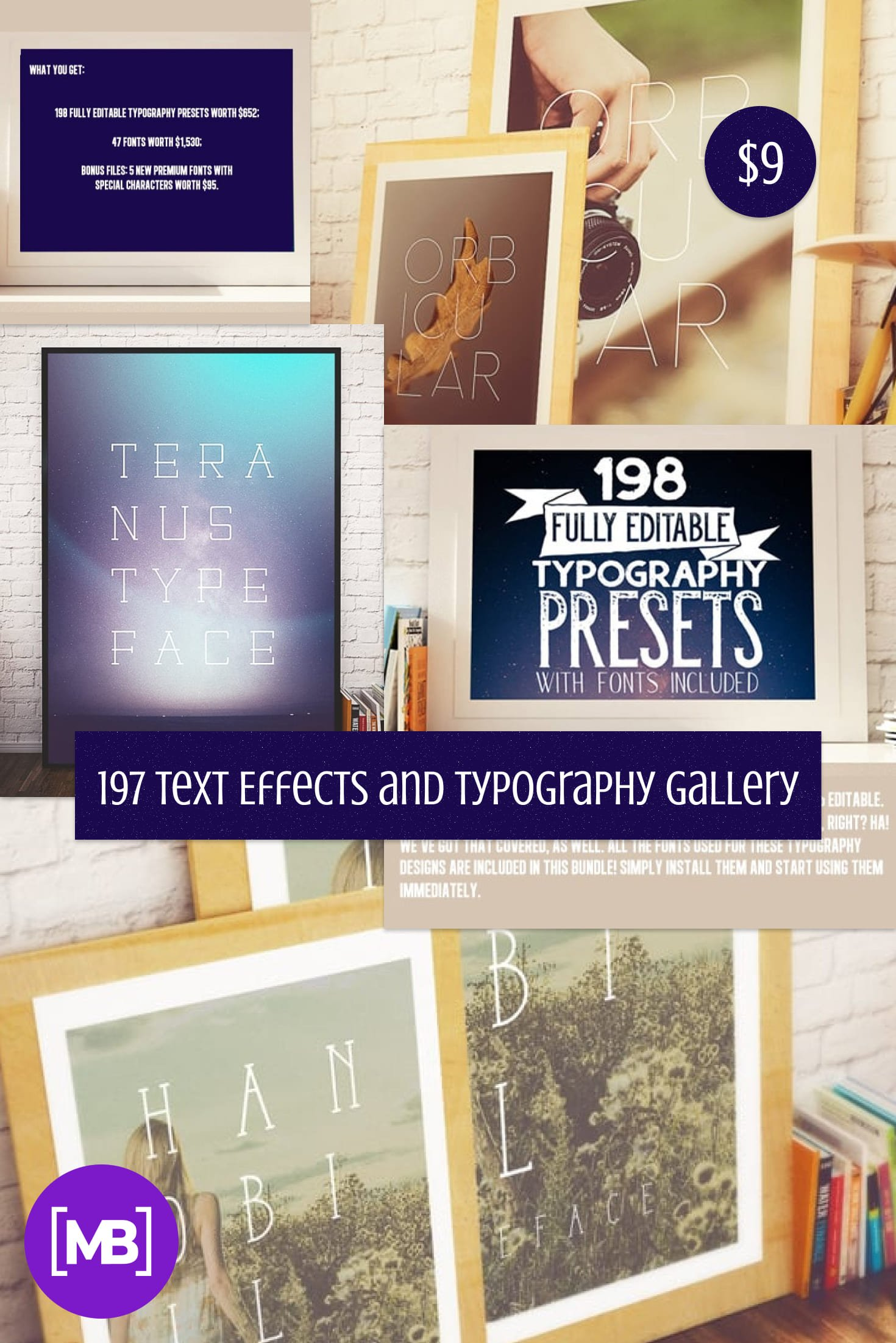 197 Text Effects and Typography Gallery. Only $9!. Collage Image.