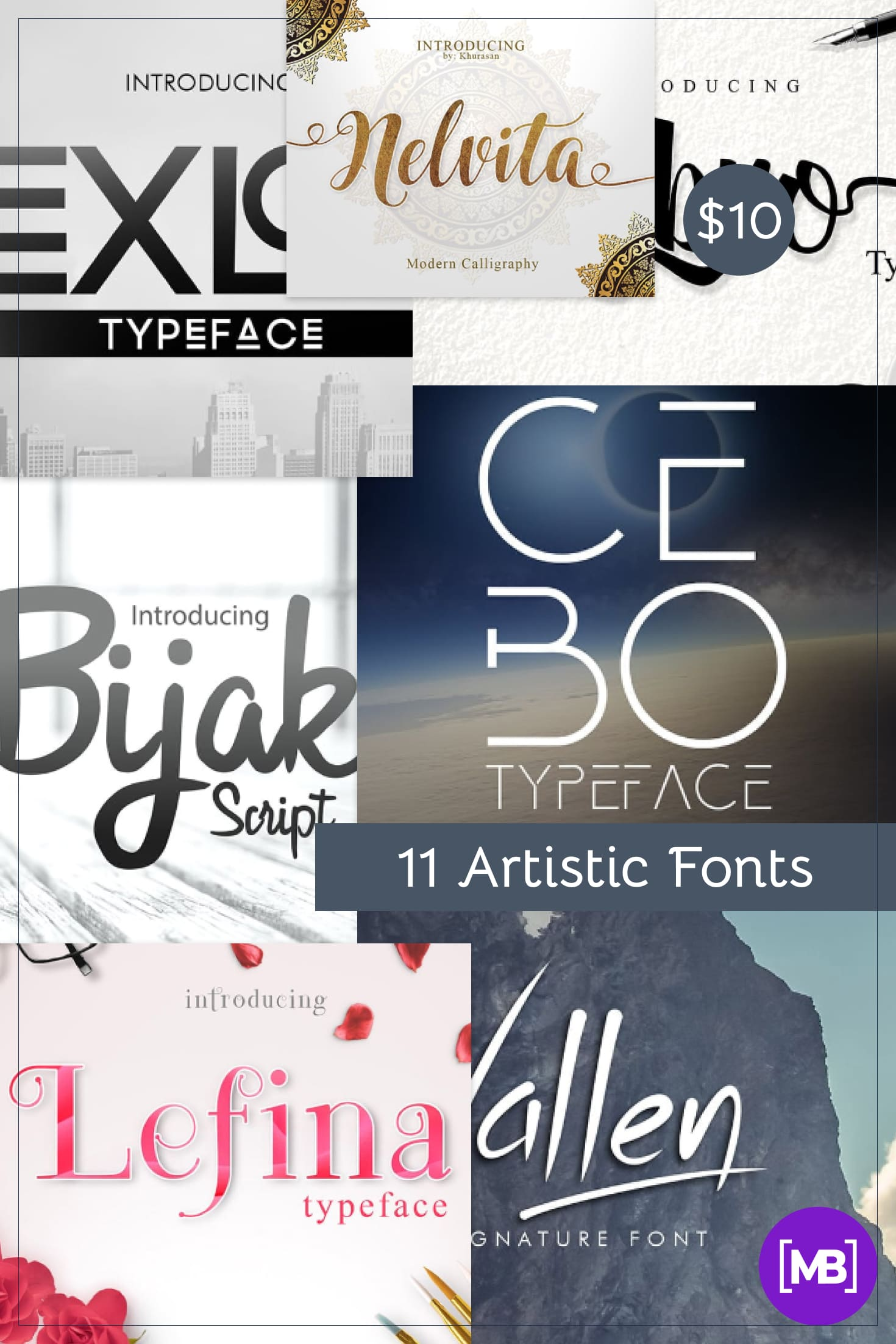 11 Artistic Fonts - Premium Quality Collection. Only $10. Collage Image.
