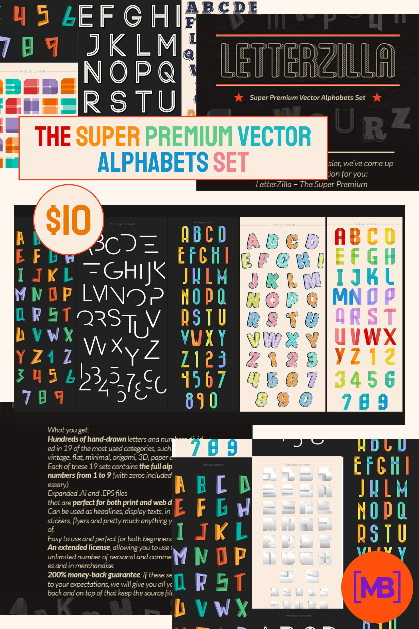 The Super Premium Vector Alphabets Set for Only $10. Collage Image.