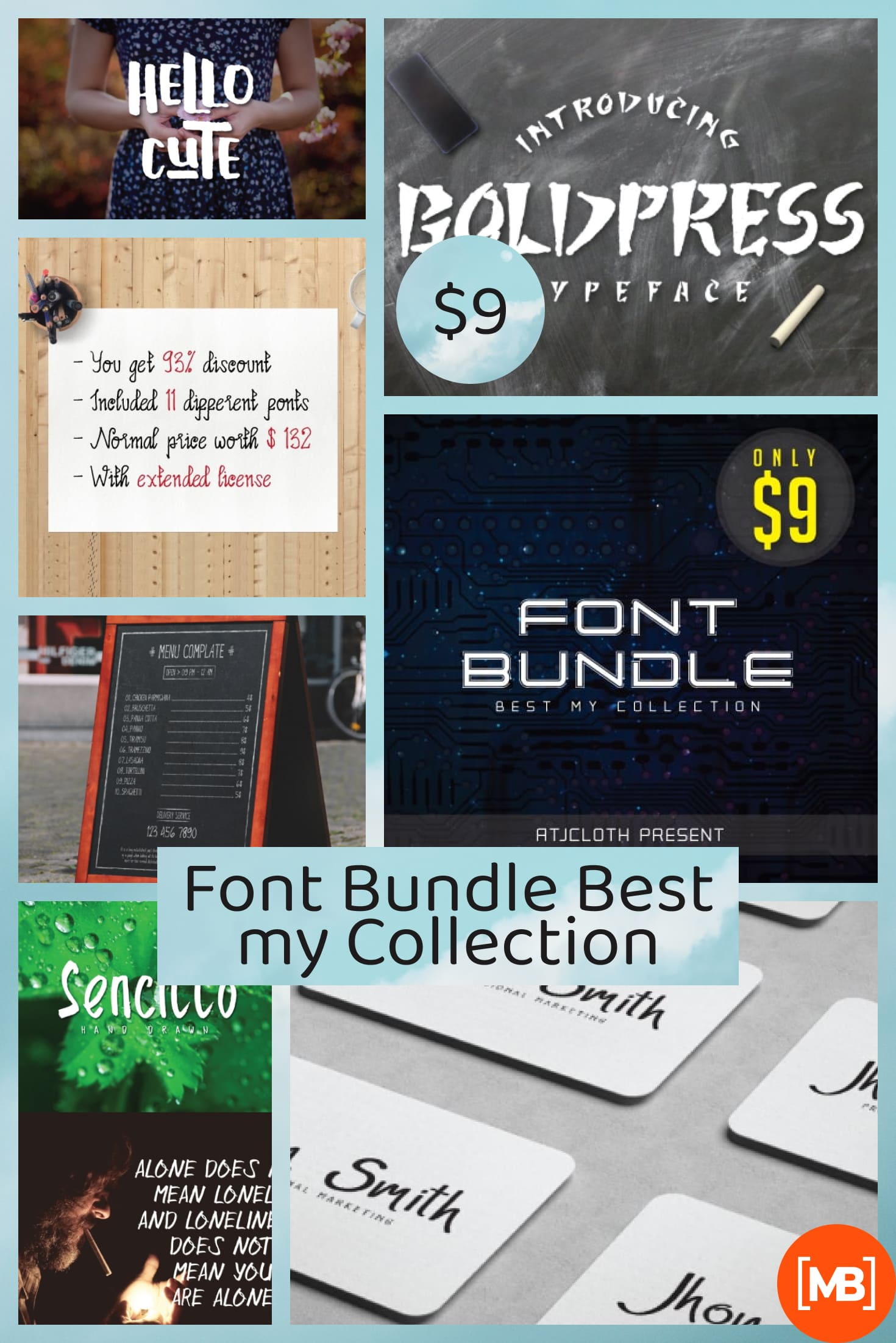 Font Bundle Best my Collection - Only $9. Collage Image.