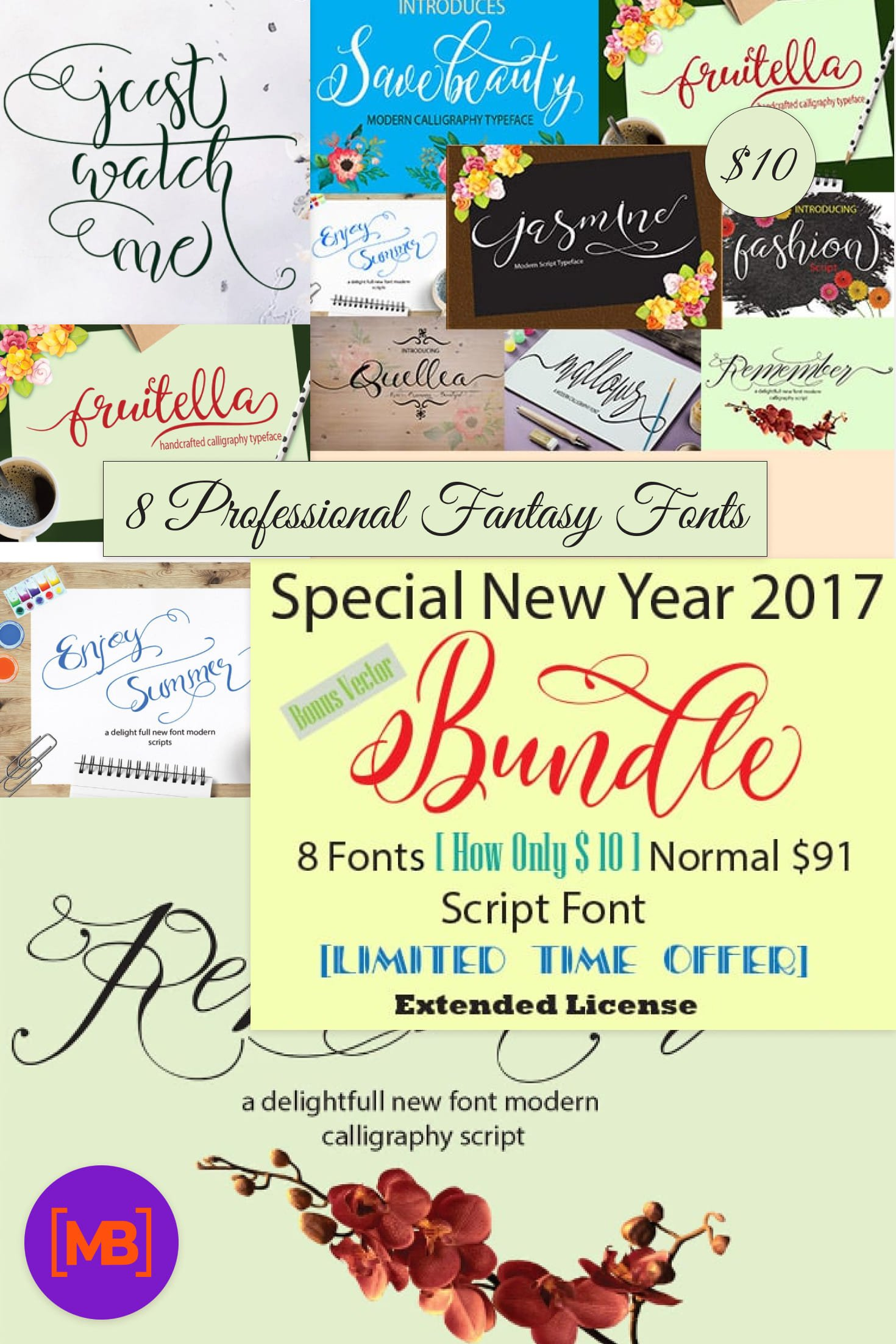 8  Professional Fantasy Fonts - only $10!. Collage Image.