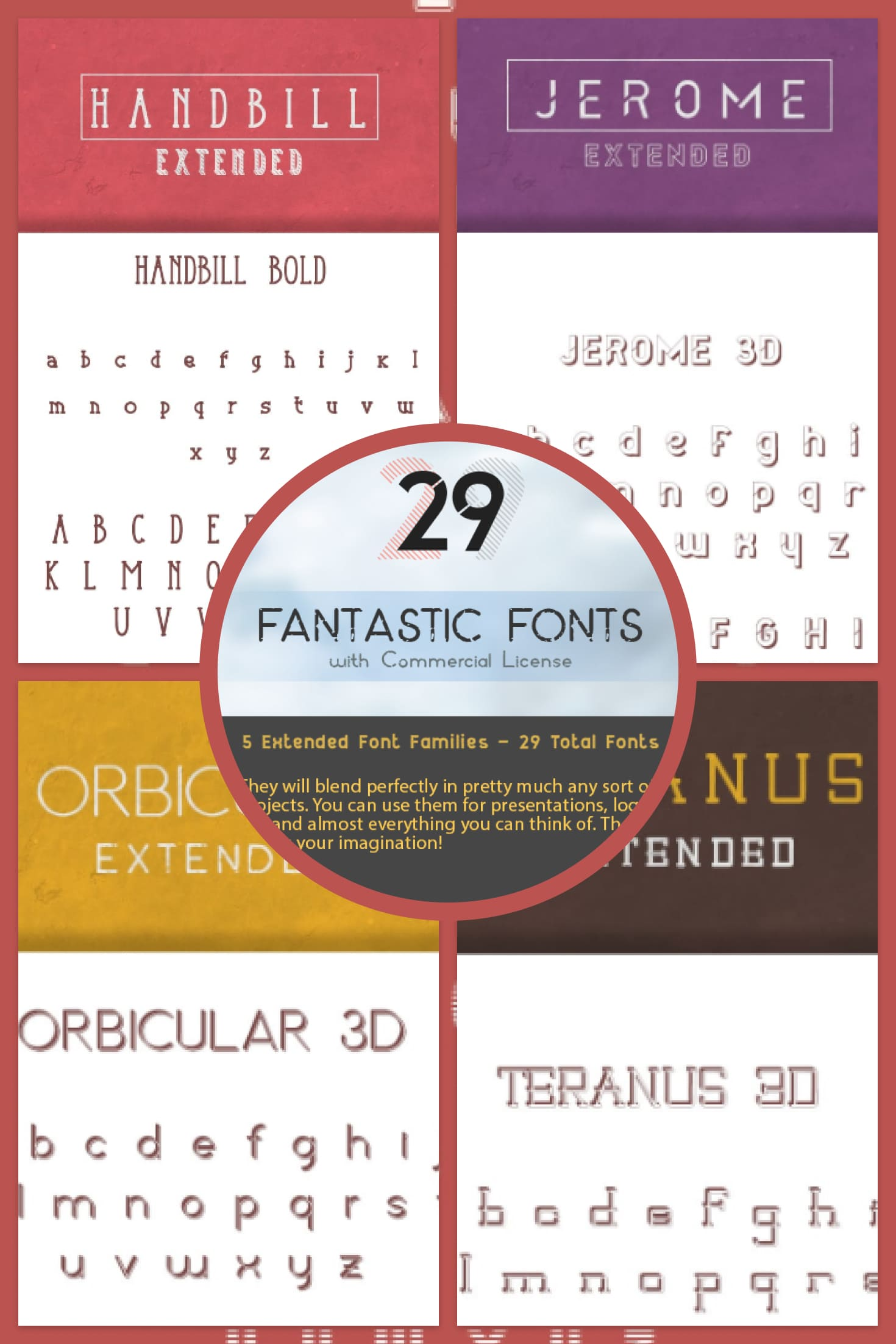 29 Fonts for Commercial Use. Make Your Text Amazing! – Only $10. Collage Image.