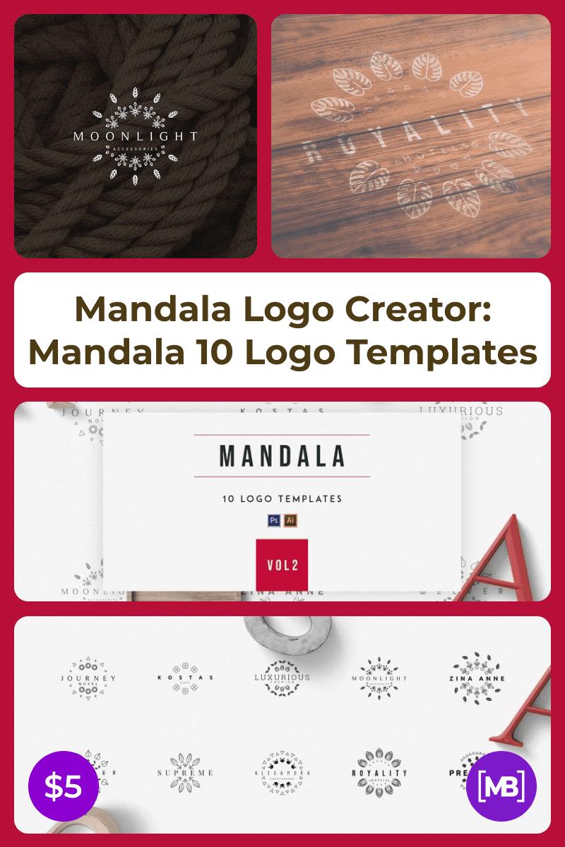 Mandala Logo Creator: Mandala 10 Logo Templates. Collage Image.