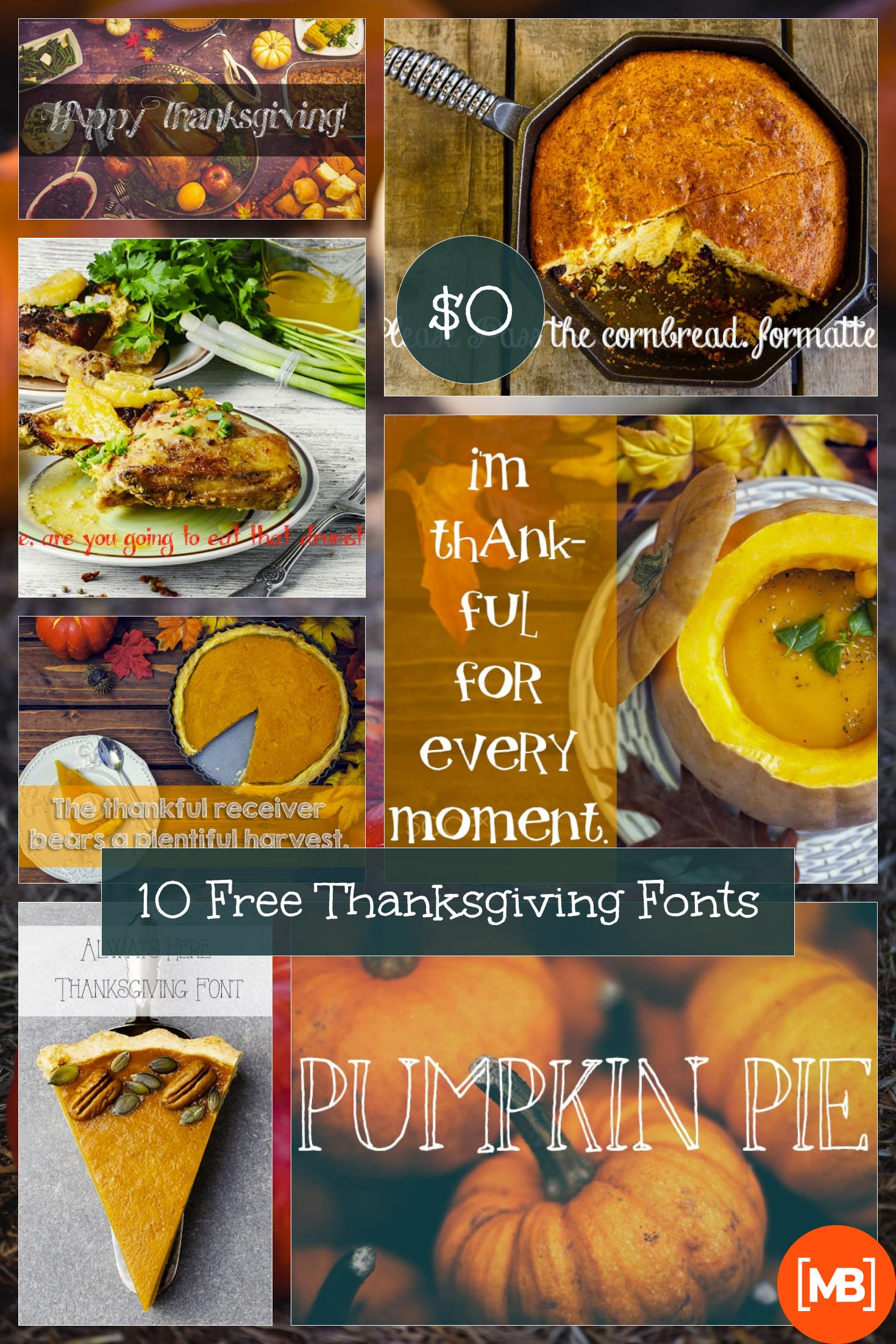 10 Free Thanksgiving Fonts. Collage Image.