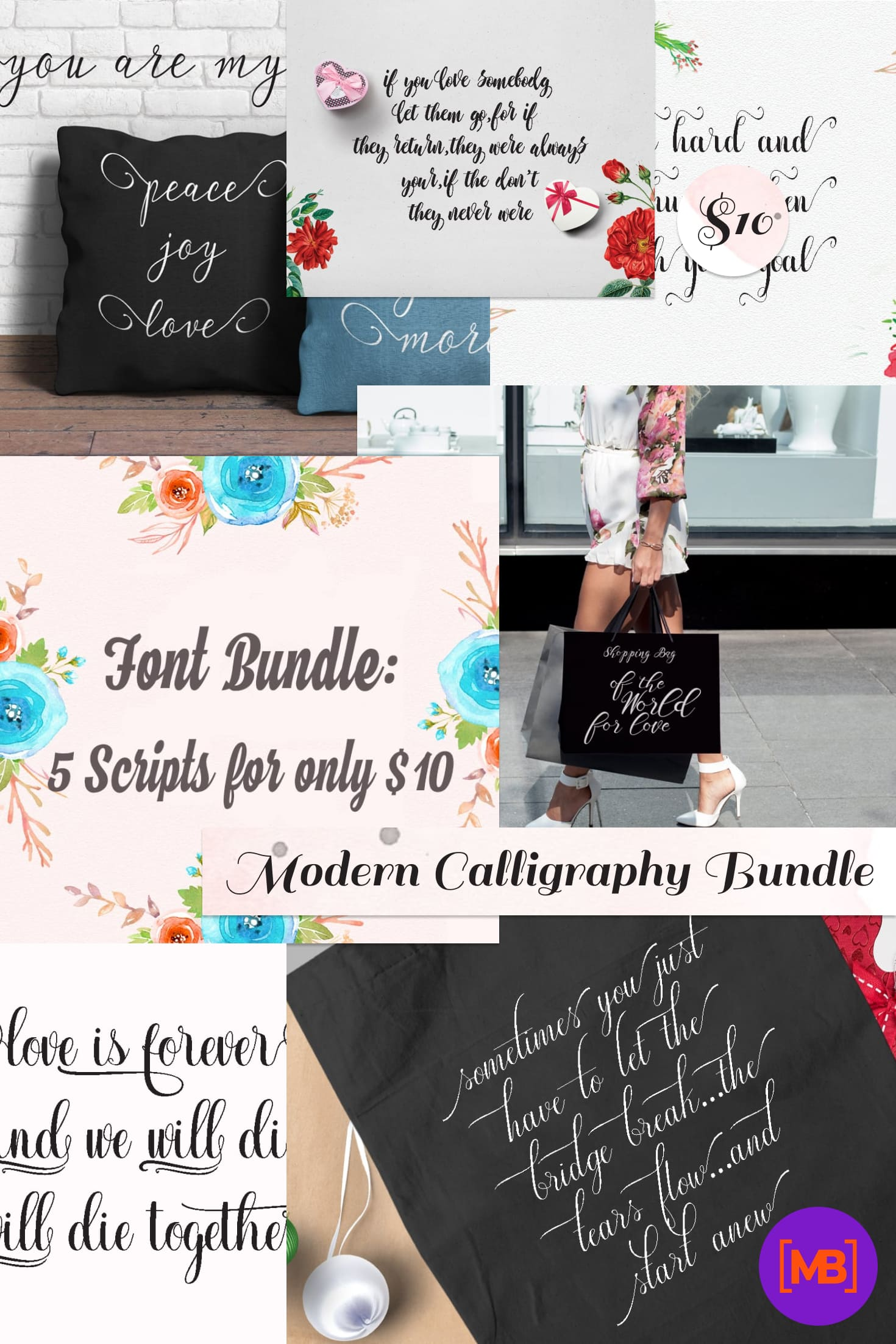 Modern Calligraphy Bundle: 5 Font Scripts only for $10. Collage Image for Pinterest.