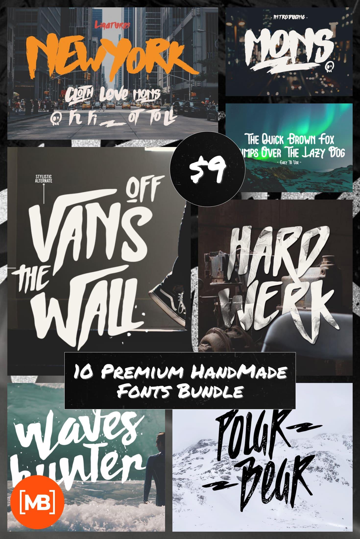 10 Premium HandMade Fonts Bundle - just $9. Collage Image.