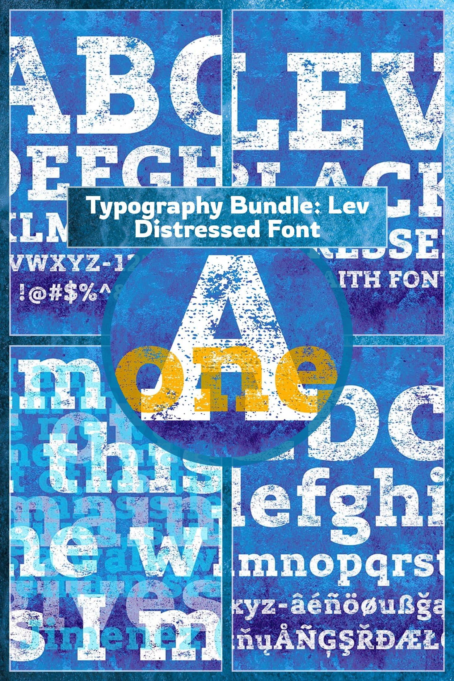 Typography Bundle: Lev Distressed Font. Collage Image.