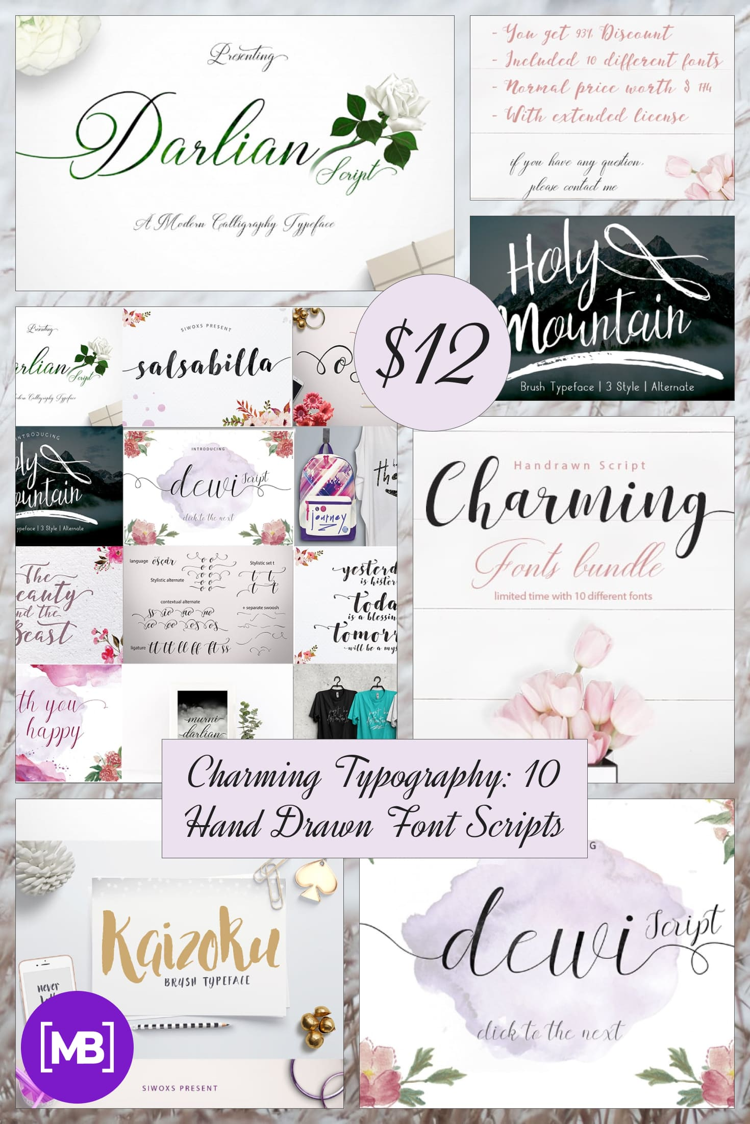 Charming Typography: 10 Hand Drawn Font Scripts - just $12. Collage Image.