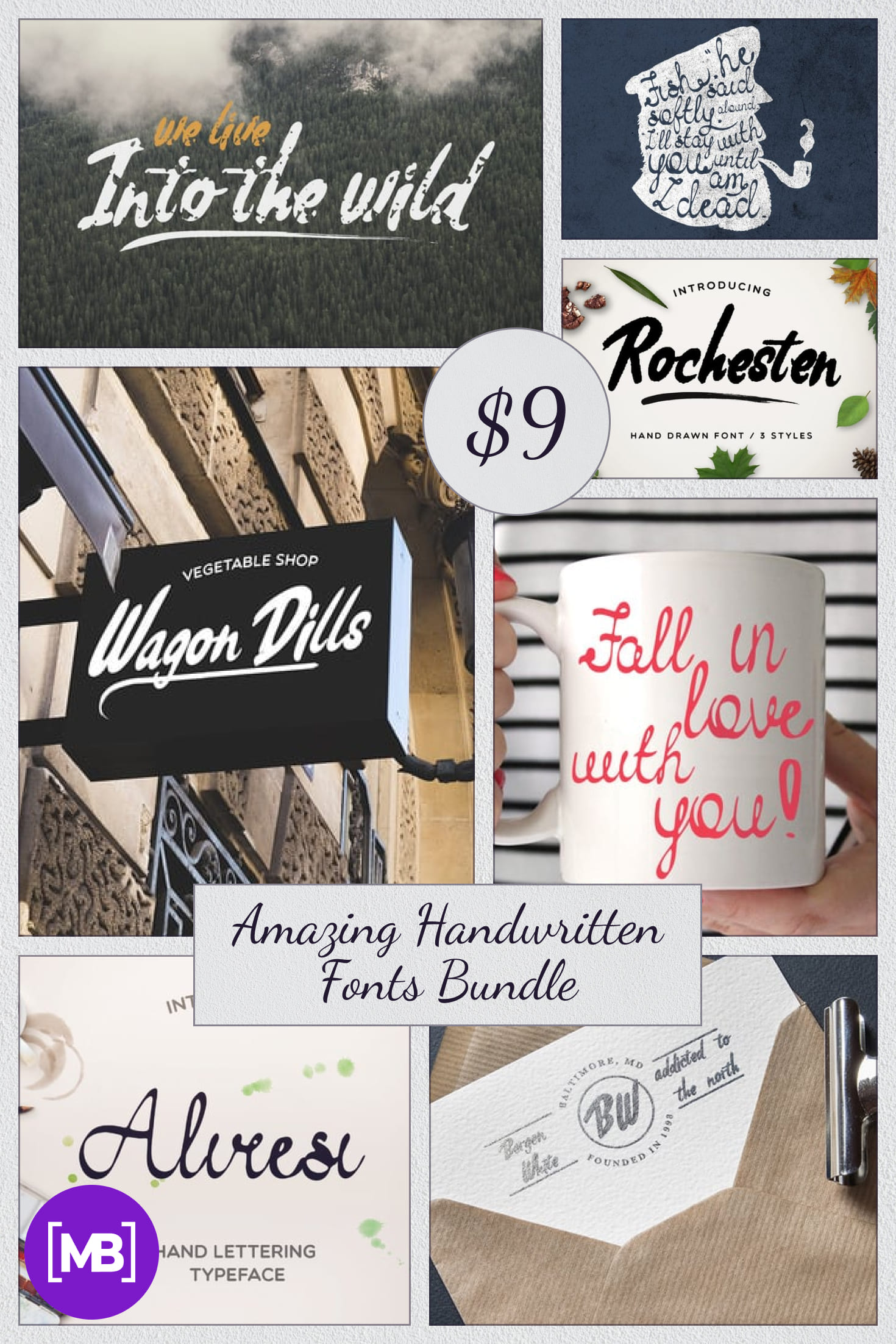 Amazing Handwritten Fonts Bundle - just $9. Collage Image.