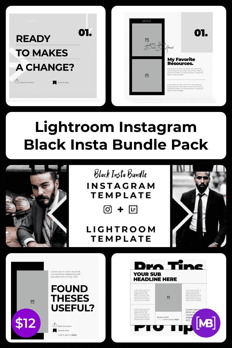 Lightroom Instagram Black Insta Bundle Pack. Collage Image.