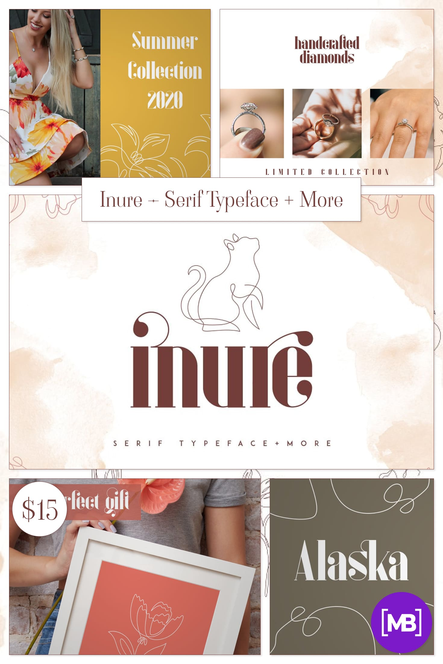 Inure - Serif Typeface + More. Collage Image.