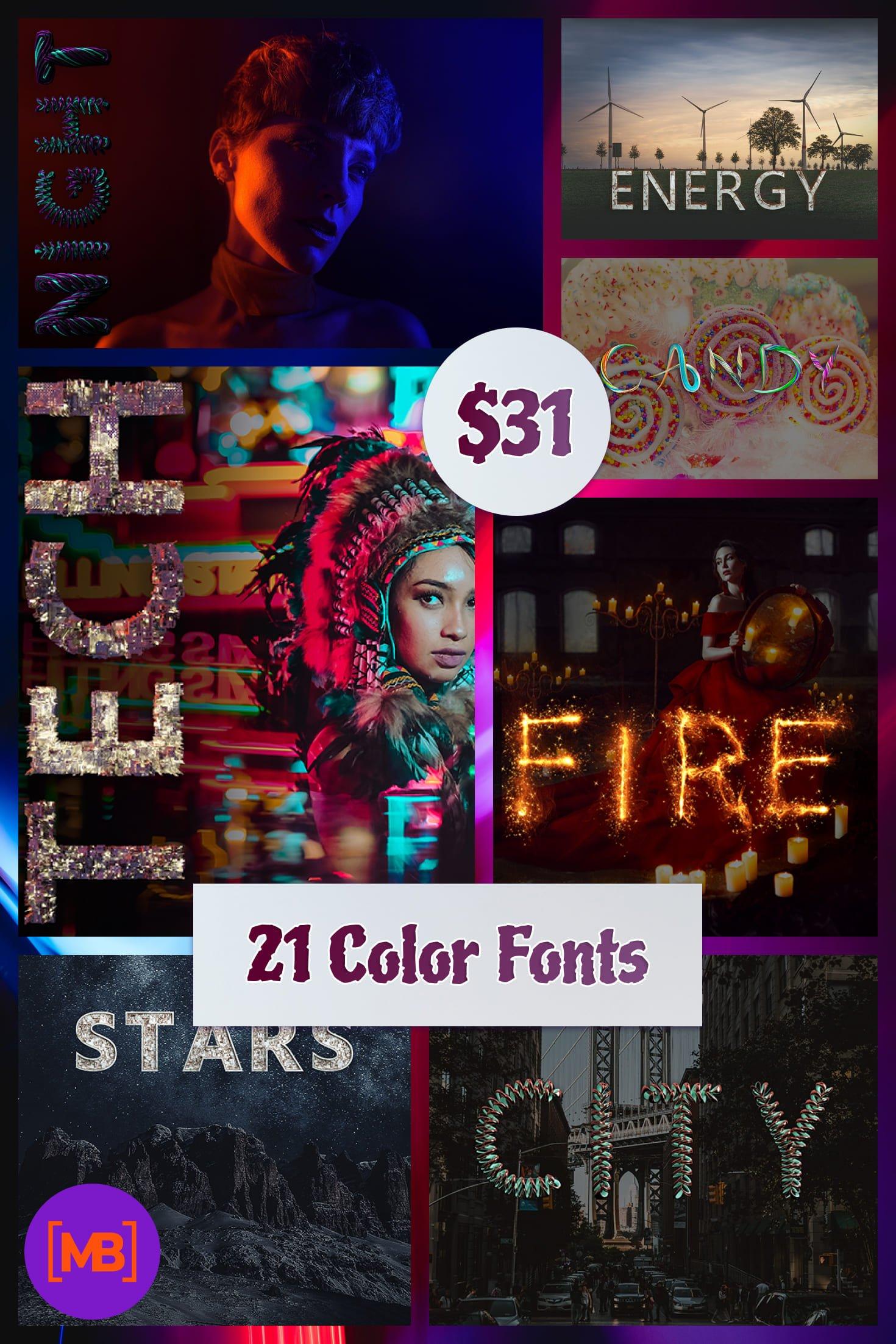 21 Color Fonts: FaeryDesign & PandoraDreams Render Fonts. Collage Image.