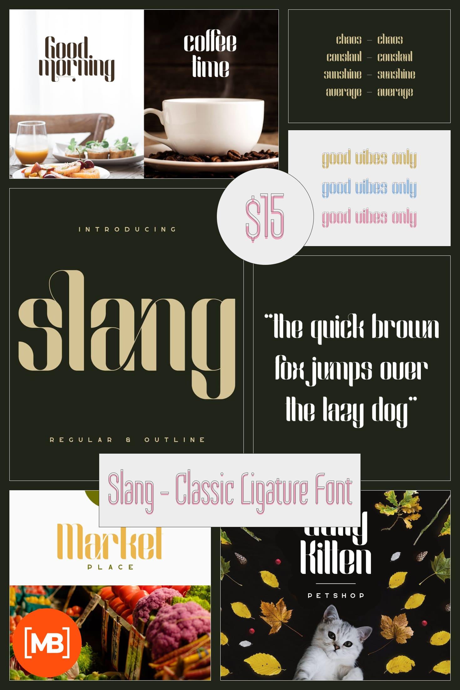 Slang - Classic Ligature Font. Collage Image.