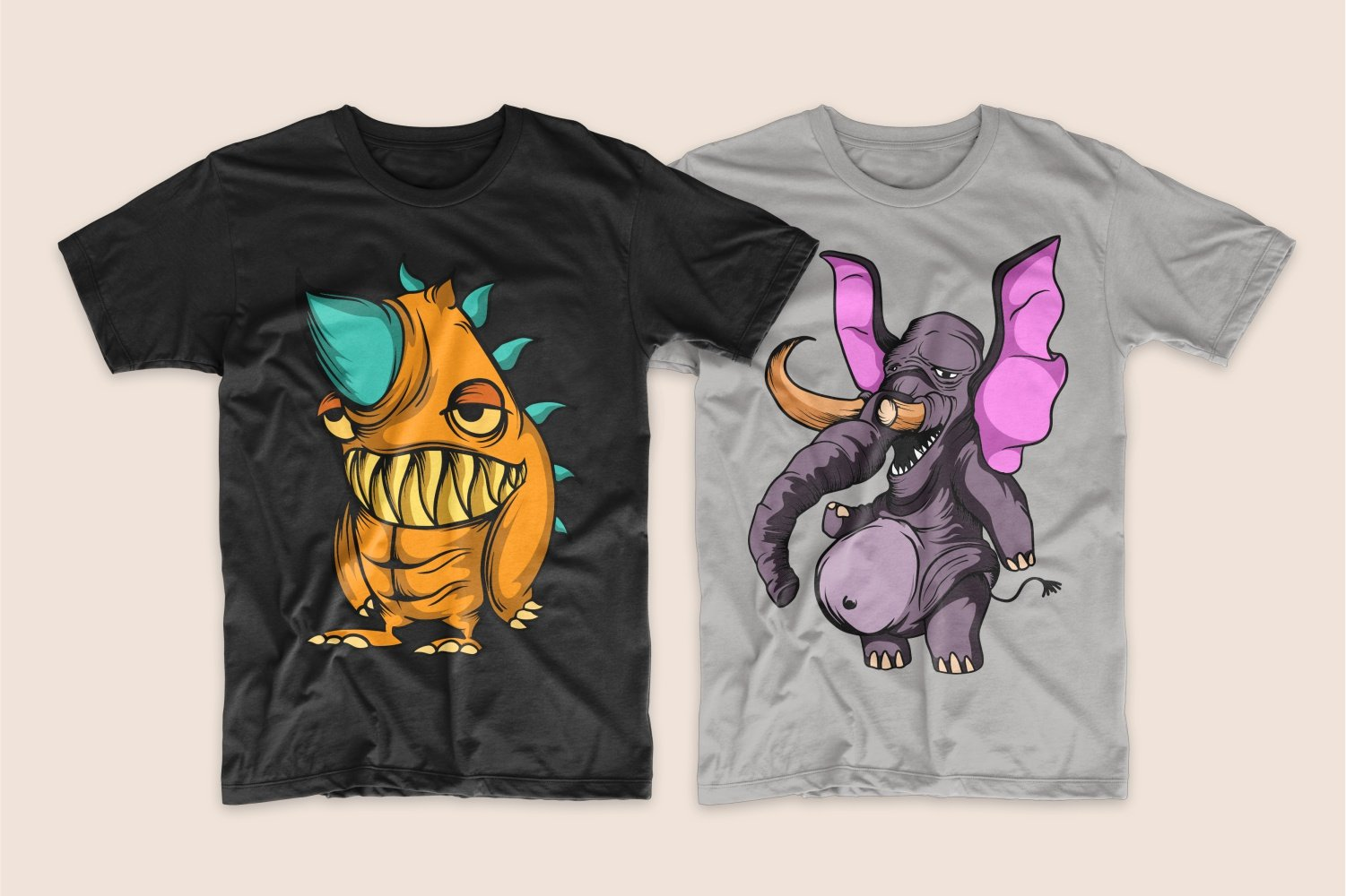 A black T-shirt with a ginger one-horned monster and a gray T-shirt with a purple elephant.