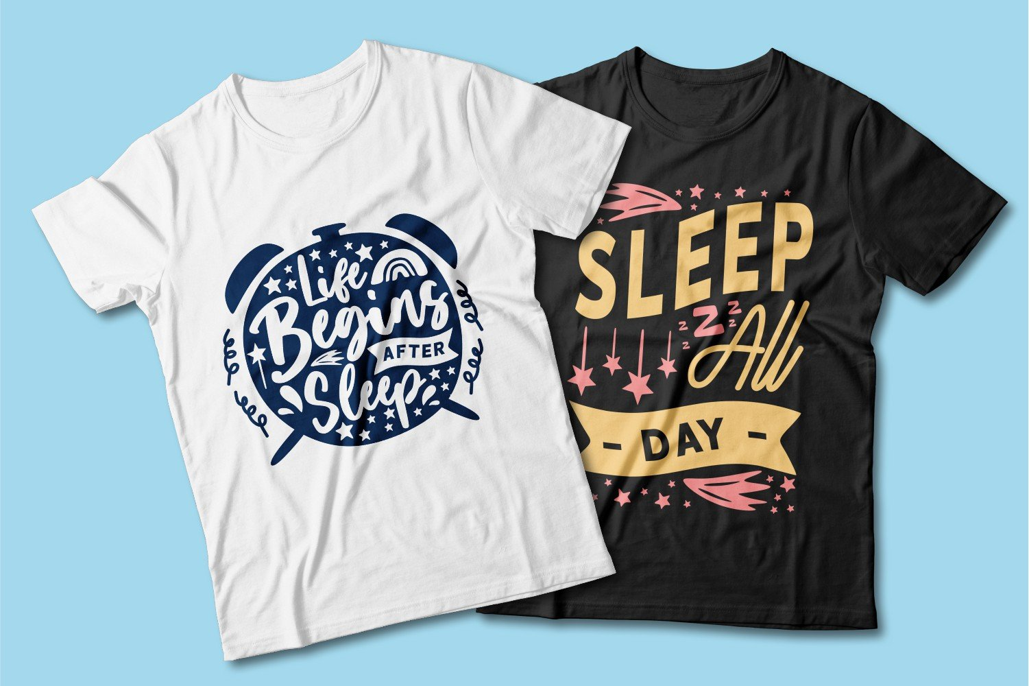 White and black T-shirts with multi-colored lettering.