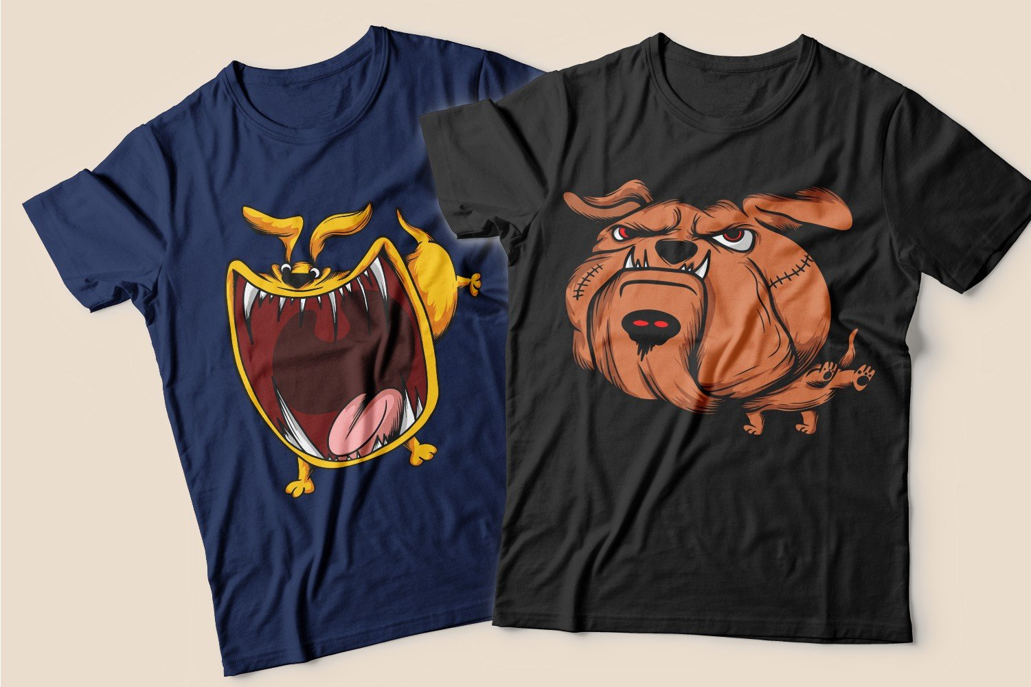Two T-shirts: blue with a ginger dog with a big throat and black with an angry ginger dog.
