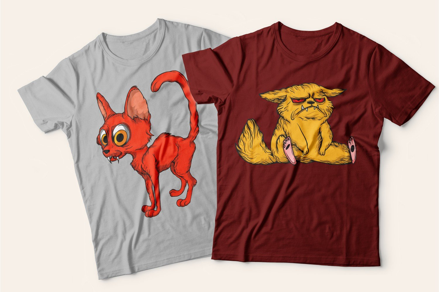 Two T-shirts with cats: one is gray with a thin scared cat, the other is burgundy with a lazy and tired red cat.