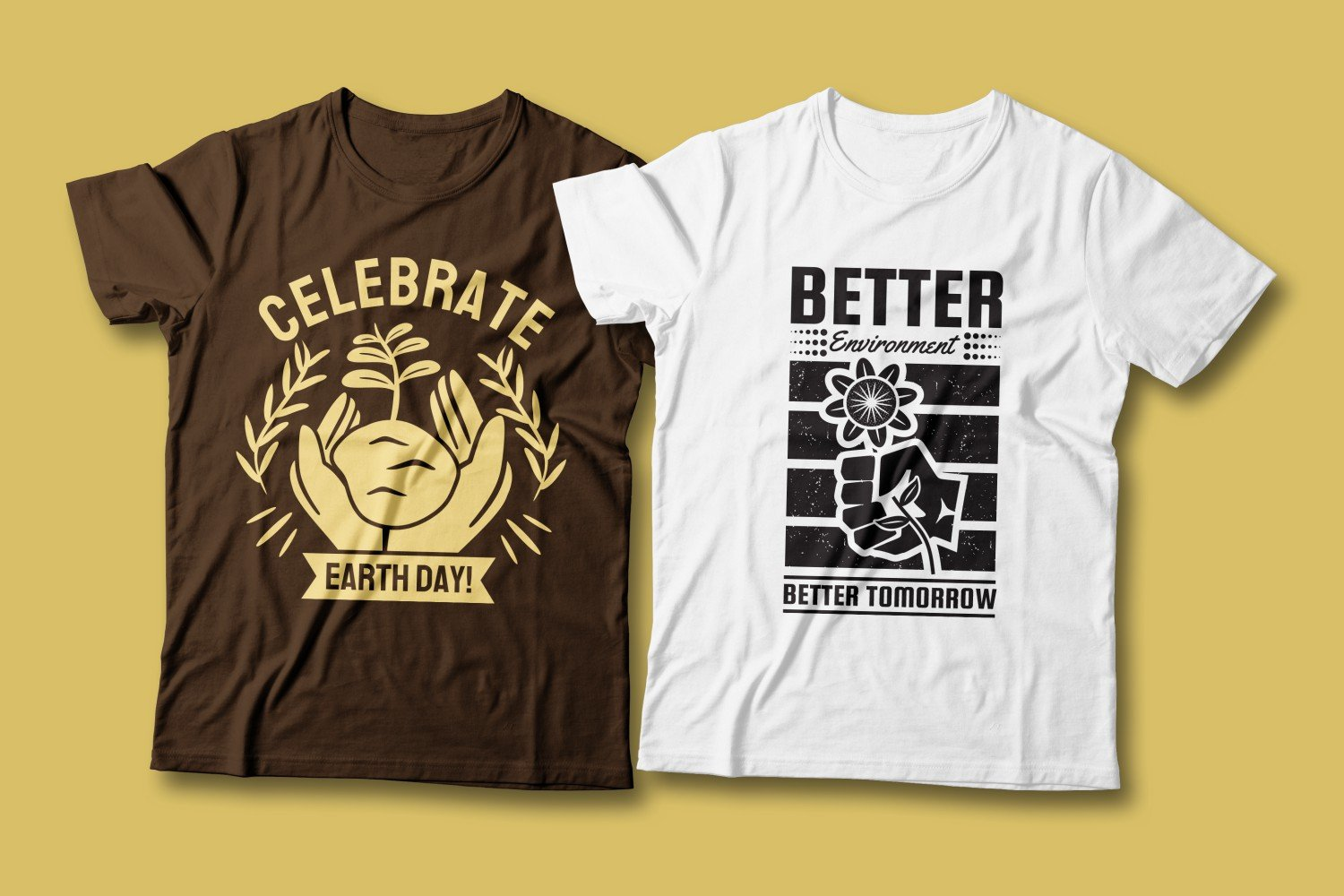 Two T-shirts - brown and white. Both are about the future and nature conservation.