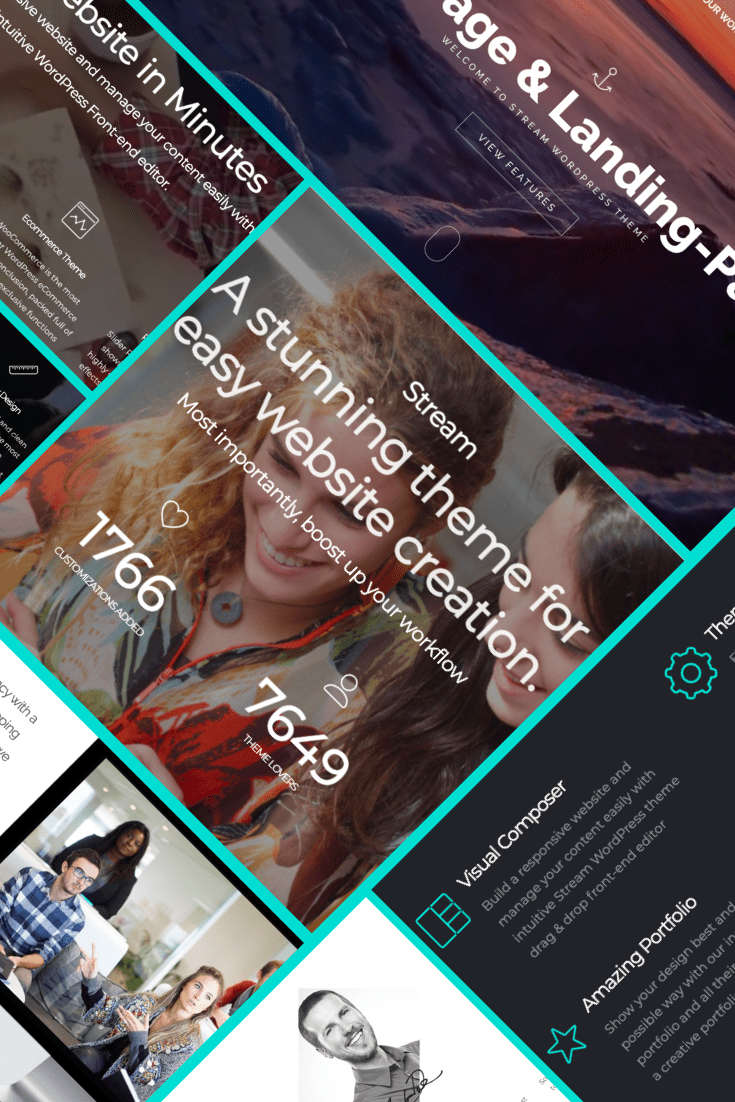 Stream WordPress Theme -  $25. Collage Image.