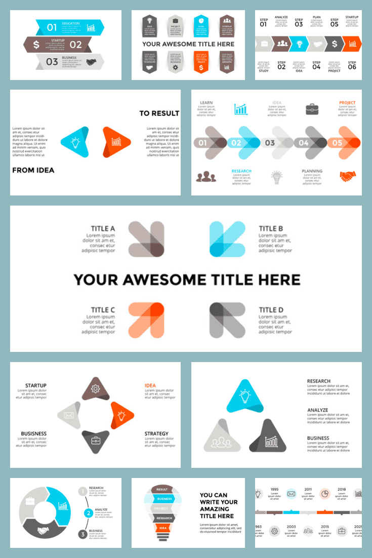 33 Powerpoint & Keynote Arrows Templates - $10. Collage Image.