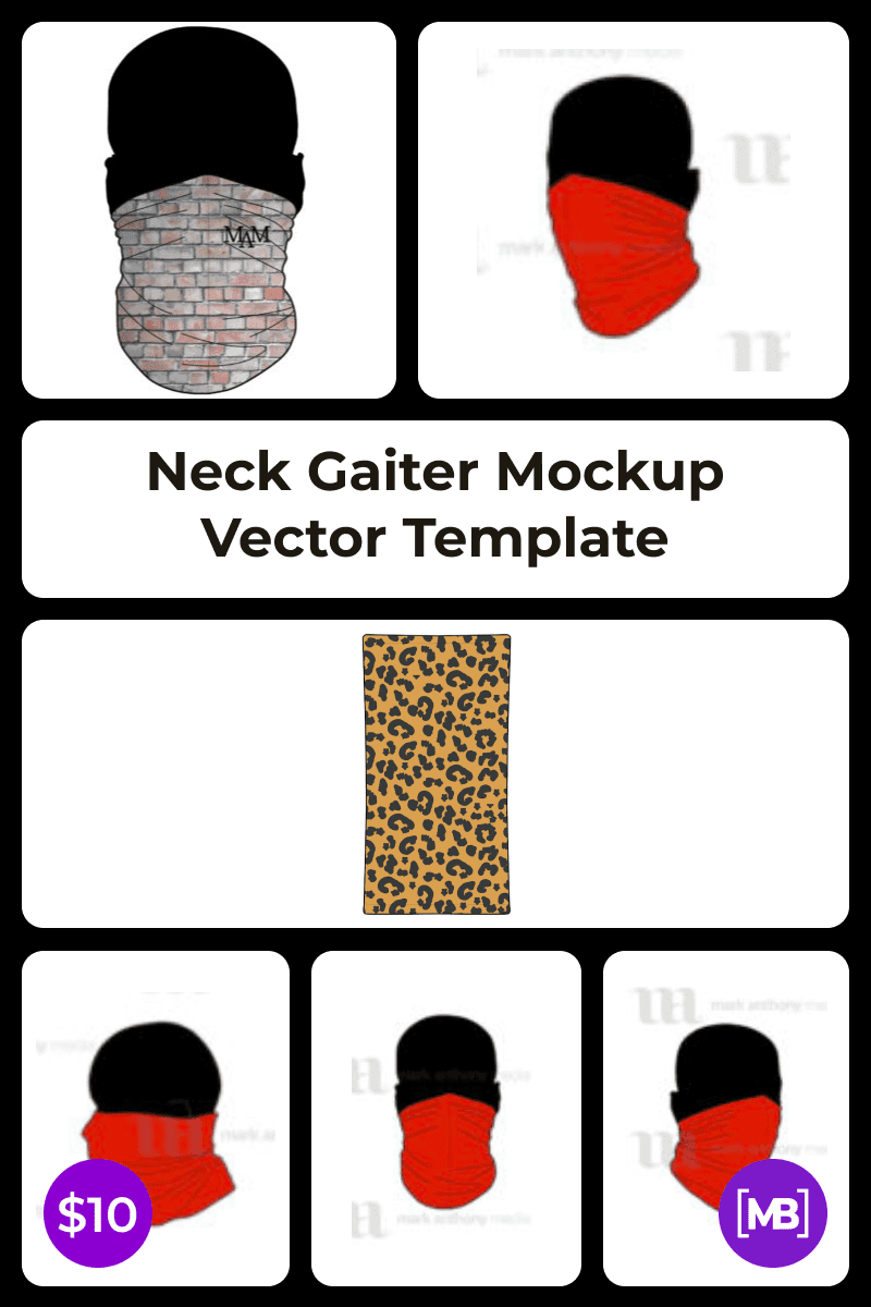 Neck Gaiter Mockup Vector Template. Collage Image.