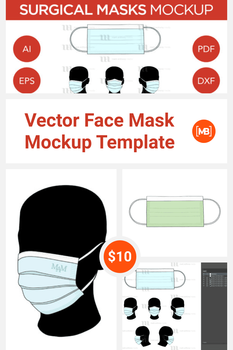 Vector Face Mask Mockup Template. Collage Image.