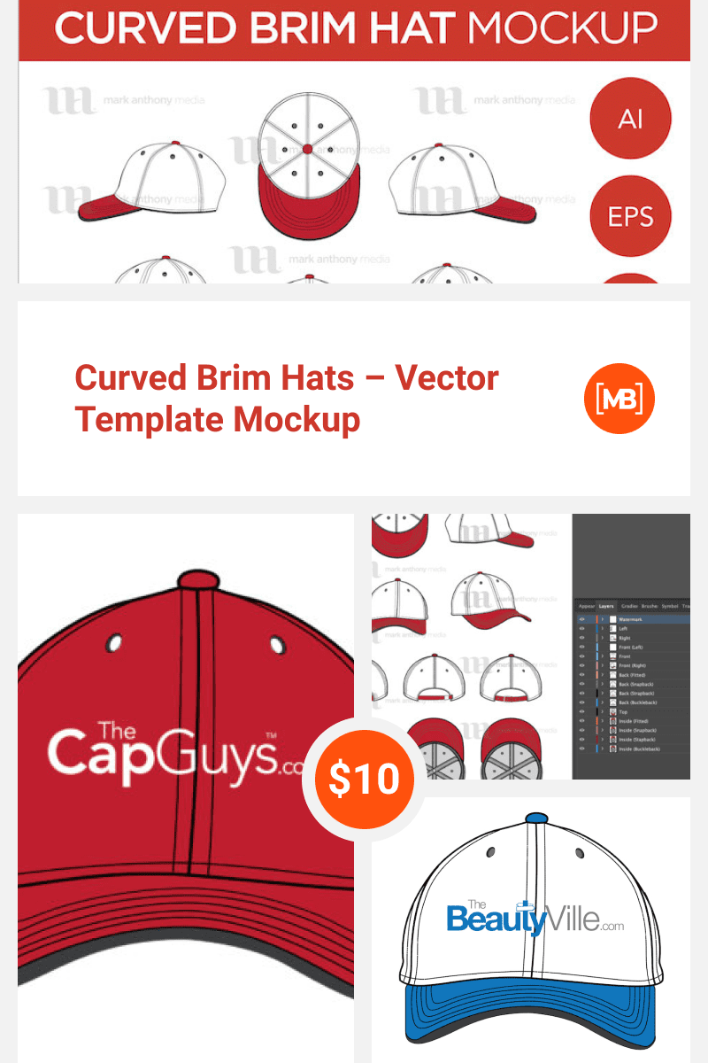 Curved Brim Hats - Vector Template Mockup. Collage Image.