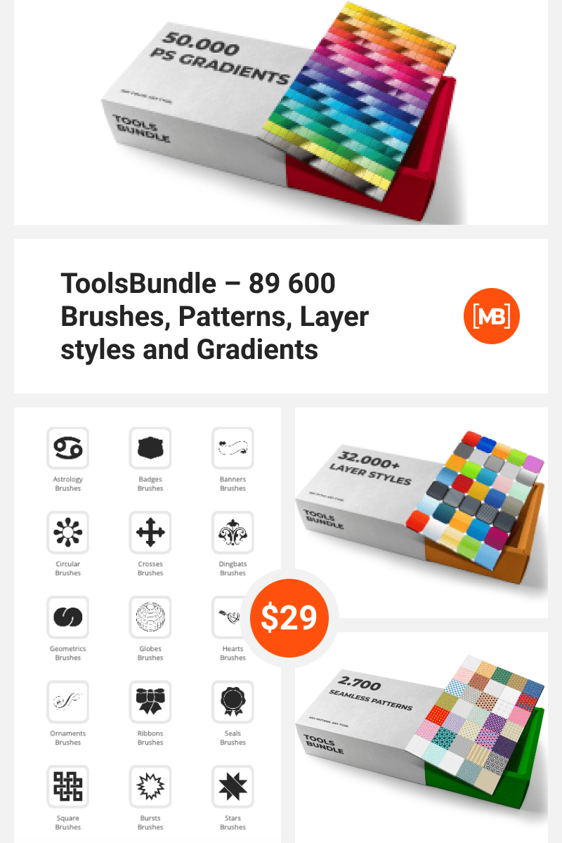 ToolsBundle - 89 600 Brushes, Patterns, Layer styles and Gradients. Collage Image.