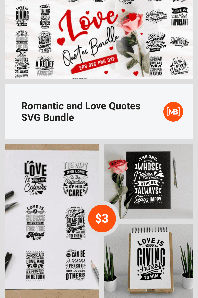 Romantic and Love Quotes SVG Bundle. Collage Image for Pinterest.