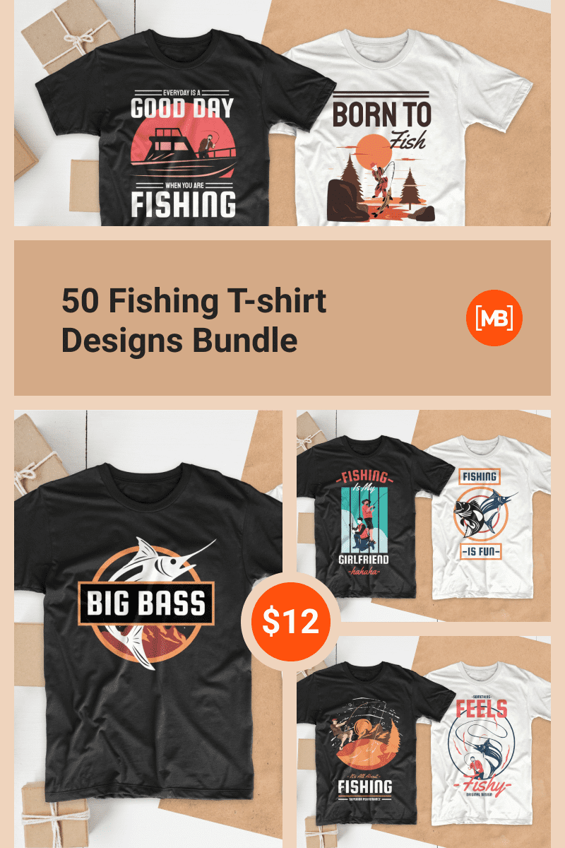 50 Fishing T-shirt Designs Bundle. Collage Image for Pinterest.