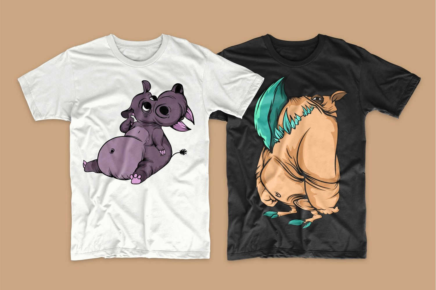 A white T-shirt with a relaxed little purple hippopotamus and a black one with an incomprehensible monster.