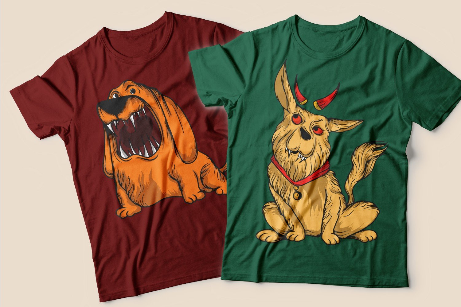 Two T-shirts: burgundy with a red long-eared dog and green with a curious beige dog with horns.