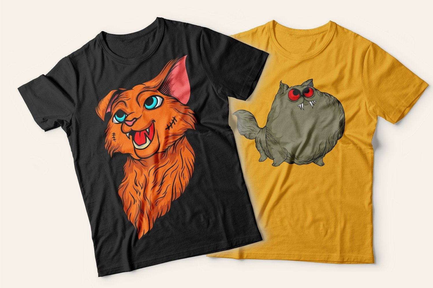 Two T-shirts with cats: one is black with a red-haired yard cat, the other is yellow with a fat happy cat.