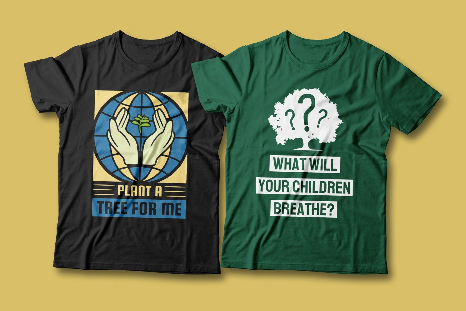 Two T-shirts - green and black. Both with images of a tree.